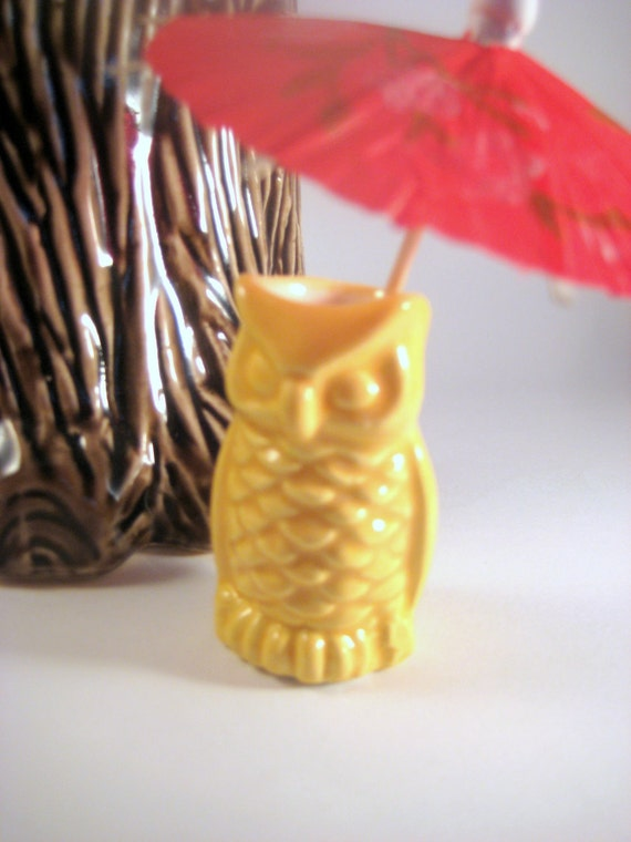 Vintage Ceramic Owl Toothpick Holder, Sun Yellow