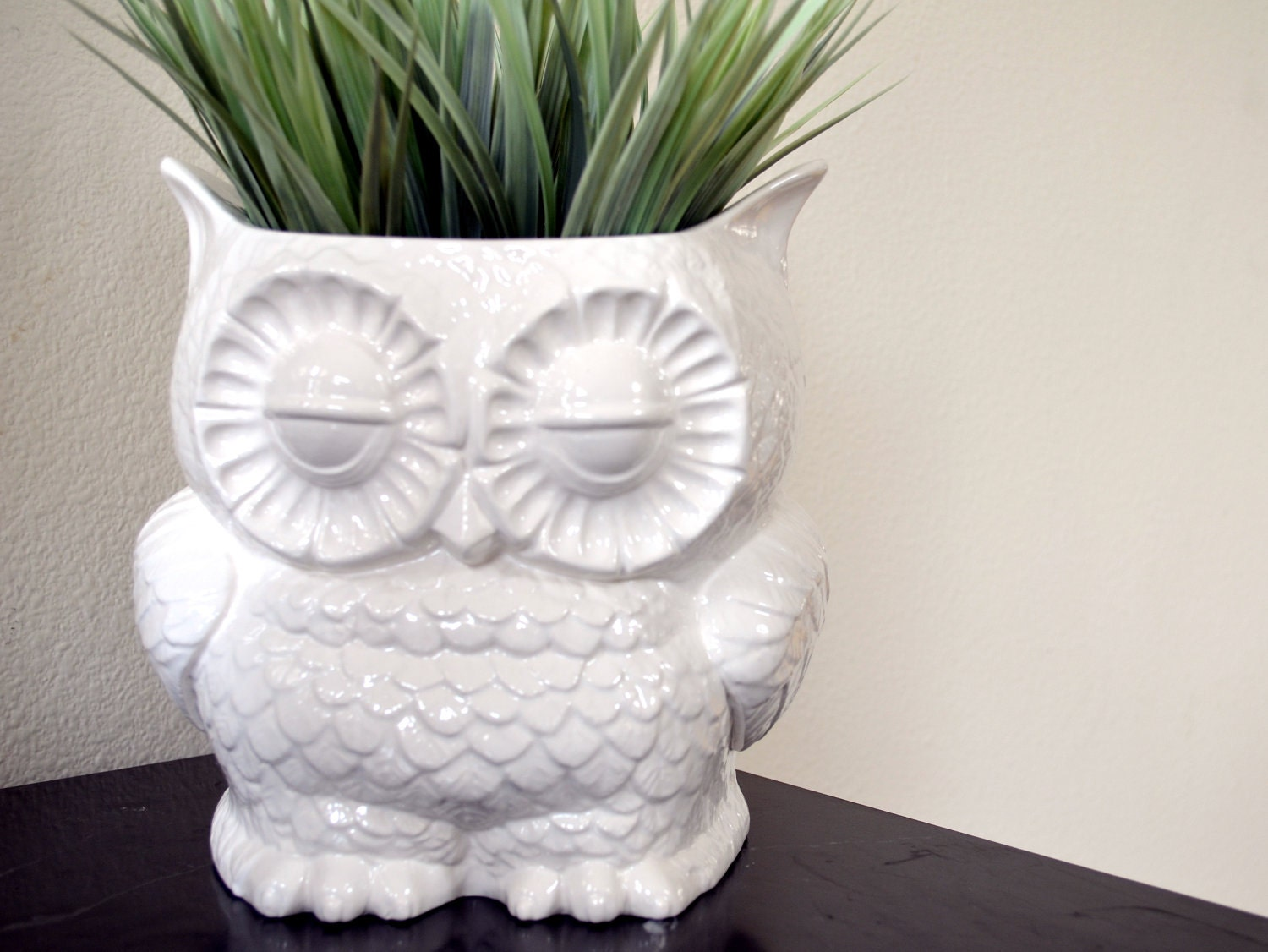 Vintage Retro Decor Custom Ceramic Large Owl Planter By Modclay