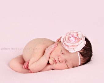 lovely pale pink camellia flower on skinny pink headband