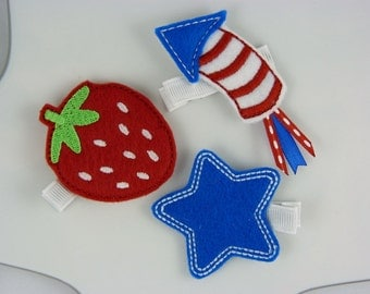 red white and blue felt hair clips - three pack - 4th of July - summer