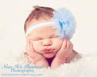 chiffon petti puff flower headband - newborn photo prop - infant headband