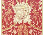 White Tulip in Redtones Counted Cross Stitch Chart -  William Morris design in the Arts and Crafts Style