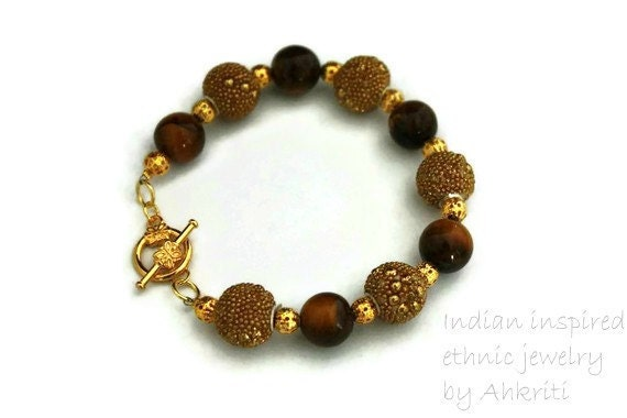 Natural tiger eye bracelet indian kashmiri beads