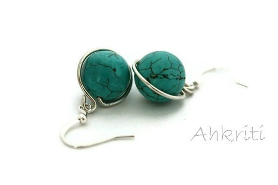 Earrings Turquoise dangles blue aqua stone handmade canada