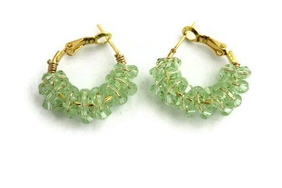 Gold and mint crystal ear hoops bridesmaids spring fashion orchids