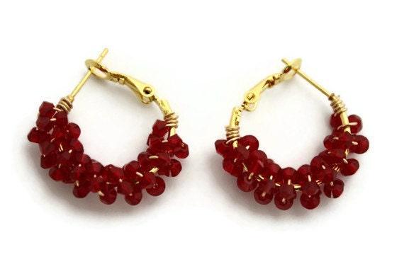 Hoop earrings crystal Wine red gold swarovski bridal gifts