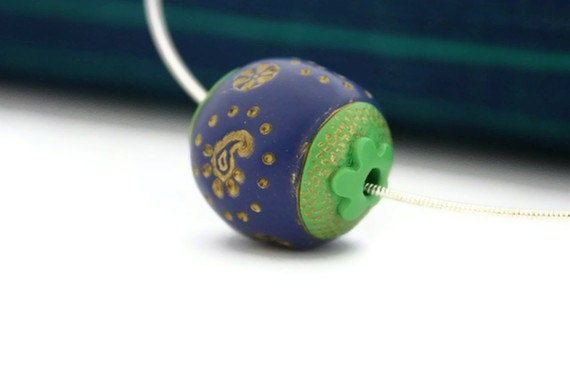 Custom listing Handmade Paisley necklace peacock blue green  polymer bead birthday