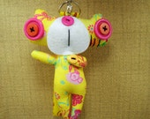 Phone Charm  a lovely  dancing monster Stuffed Button Toy bag purse keychain