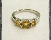 Vintage Yellow Sapphire Ring Three Stones .925 Size 9.5