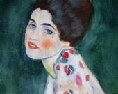 Portrait of a lady after Gustav Klimt