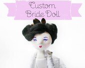 Custom Bride Doll Order - Contemporary Handmade Paper Clay Doll - One Of A Kind
