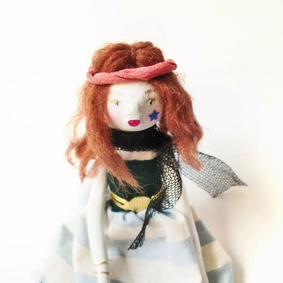 Art Doll - Dakota at the concert - Original Handmade Paper Clay Doll - One Of A Kind
