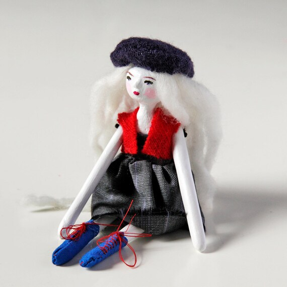 Contemporary Art Doll Parisian Flore the poet - Handmade Paper Clay Doll - One Of A Kind