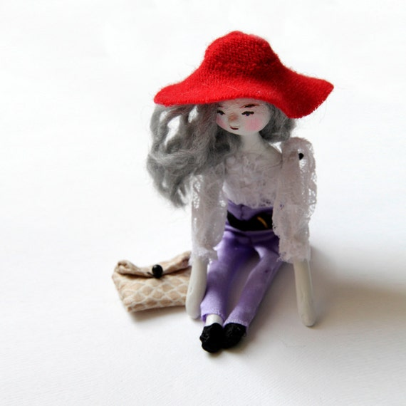 Art Doll - Joni - Contemporary Handmade Paper Clay Doll - One Of A Kind