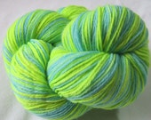 Hand Dyed Merino Sock / Fingering Weight Yarn Turquoise and Neon Green