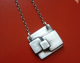 Silver Square Necklace - modern jewelry for men or women, gift idea, geometric , contemporary jewelry