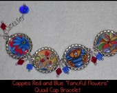 "Blue and Red Colorful Flowers Bottle Cap Bracelet-- ""Fanciful Flowers"" --Handcrafted"