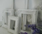 shabby chic white distressed picture frame large set open frame set photo frames French country ornate wall decor