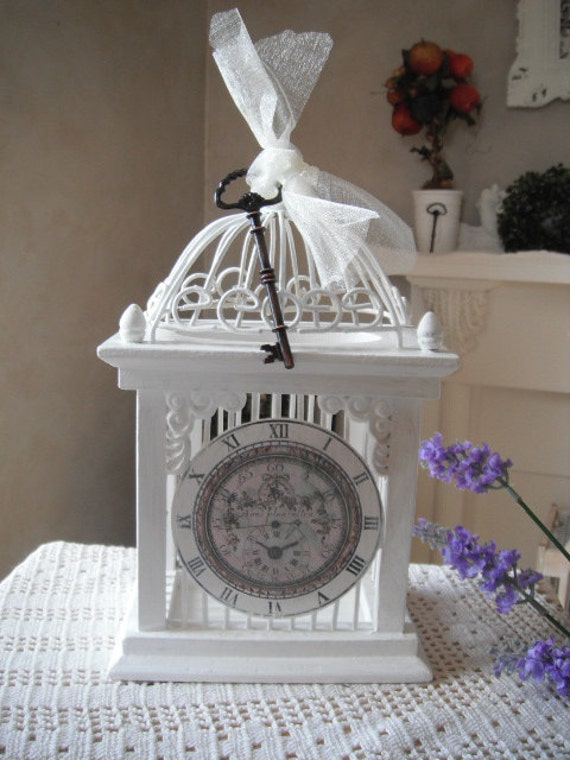 Clock case shabby chic French country cottage farmhouse display case, upcycled antique key ornamental case