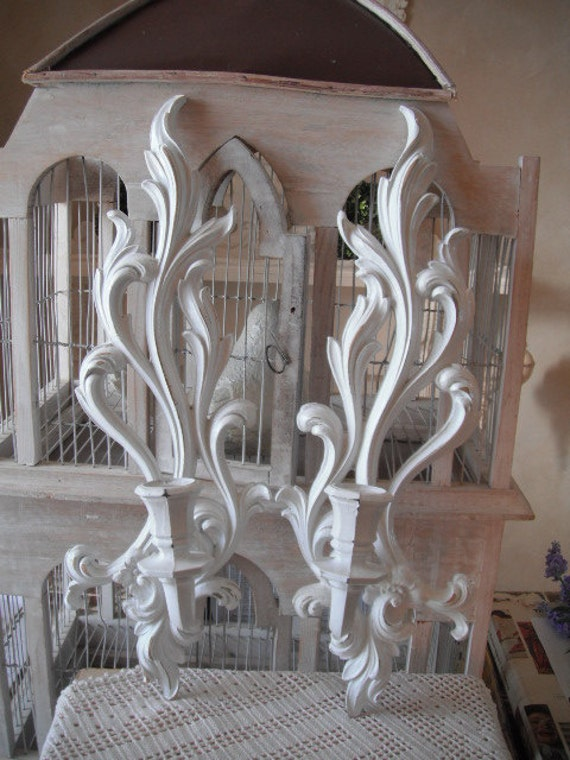 Shabby Chic Candle Wall Sconces Cottage Decor White Candle