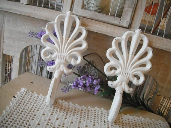 Shabby chic coat hooks cast iron hooks white hooks ornate hooks French country wall hook paris apartment painted hooks pair hooks