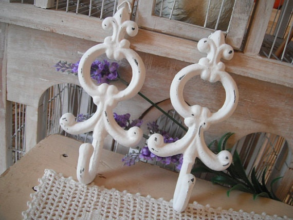 RESERVED - coat hooks cast iron hooks shabby chic  white hooks ornate hooks French country wall hook paris apartment