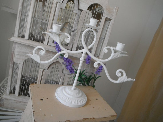 sale item White candelabra shabby chic painted candelabra candle holder French country