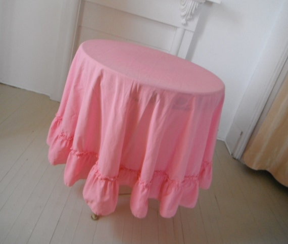 pink cotton round tablecloth ruffled edge shabby chic vintage pink tablecloth wedding decor French country cottage decor