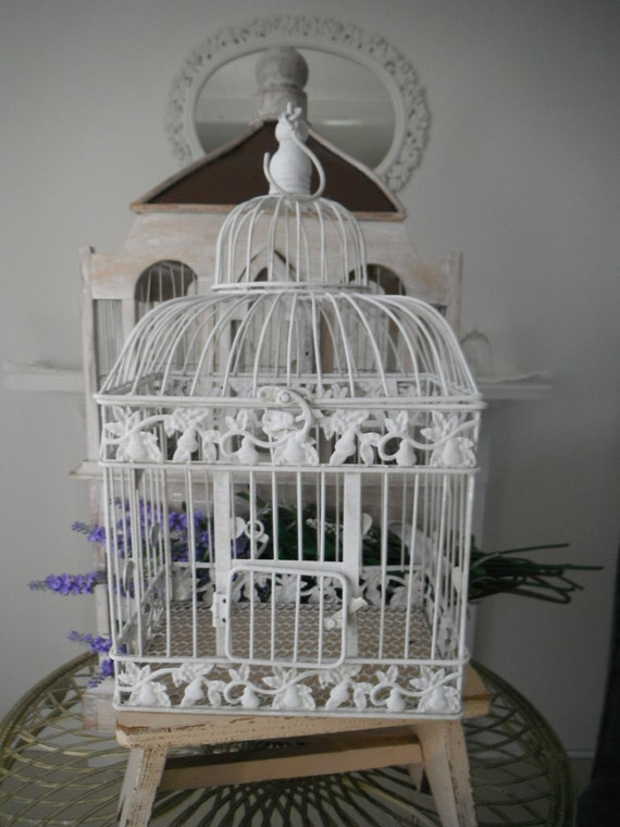 antiqued slightly distressed bird cage floral cage weddings white card holder center piece hanging bird cage