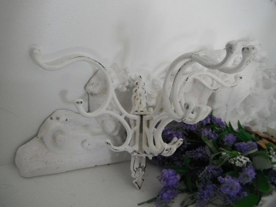 shabby chic 5 arm large victorian style 3 level hook french country clothing hook towel rack hook Off White -  READY to ship