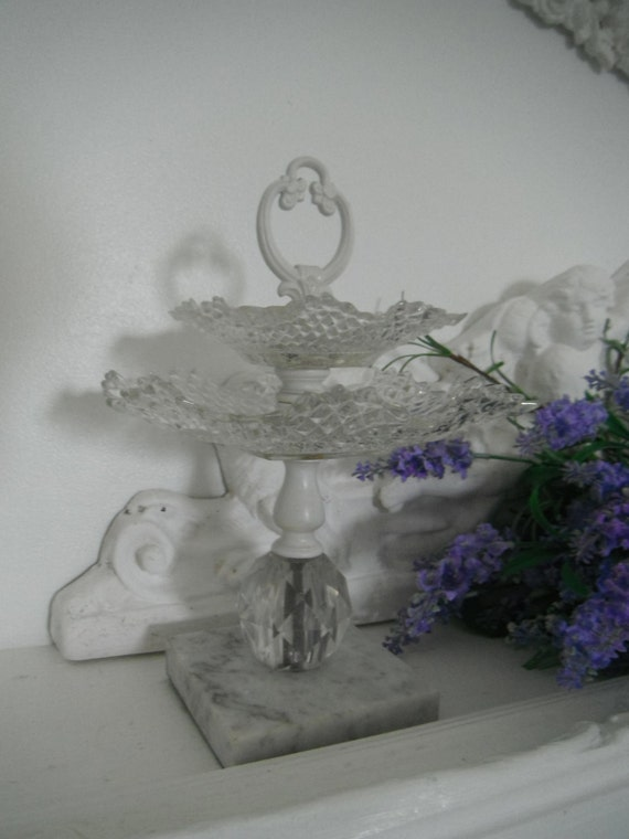 2 tier serving tray glass tray marble base french country shabby chic jewelry tray metal tray vanity tray silvertone tray