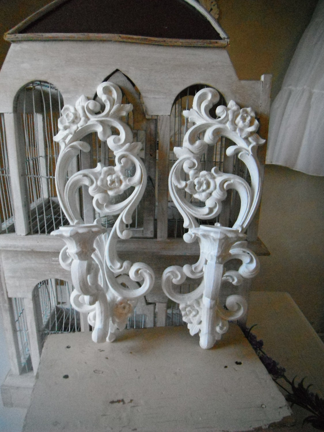 RESERVED Candle wall sconces wall decor baroque by ShabbyRoad
