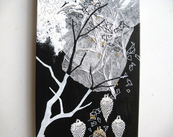 mixed media painting original. abstract black and white. dream factory.