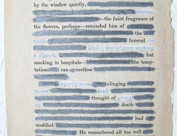 erasure poetry.  original ooak found poem.  white funeral