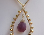 Faceted Magenta Jade Pendant with a Granulated Look--CUSTOM ORDER