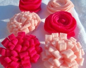 Handmade Flowers for headbands, Valentines Day Collection felt handmade flowers