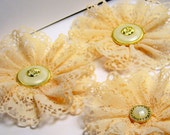 Handmade Vintage Peach Lace Flowers perfect for weddings, scrapbooks and cards