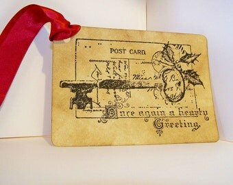 Vintage Christmas Postcard Gift Tag Set
