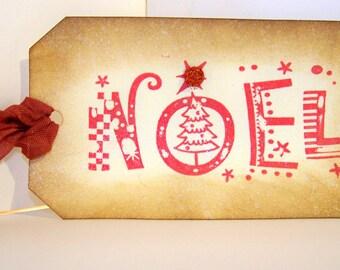 Christmas Gift Tag Vintage Looking Holiday Gift Tag- Noel