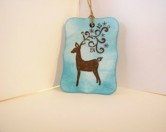 Christmas Gift Tag-Vintage Looking Holiday Reindeer Gift Tags- Holiday Blue