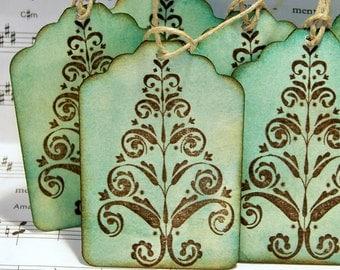 Christmas gift tag Tag-Vintage Looking Christmas Tree Gift Tags-Green and Brown