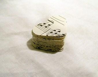 100 Die Cut Vintage Sheet Music Hearts for Weddings, scrapbooking, Favors, DIY Wedding