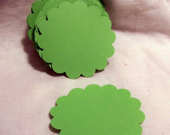 30 Die Cut Scalloped Circle 2-1/4 Inch, Spring Green Cardstock for hang tags, scrapbooking and paper crafting supplies