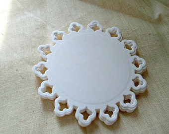 15 Small Lacey Scalloped Doily Circle Die Cuts Perfect for cards, invitations, scrapbooking and more