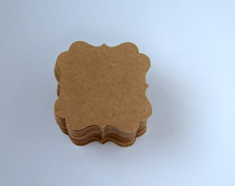 50 Die Cut Kraft Tags Flourish Square for weddings, wish, scrapbooking and more
