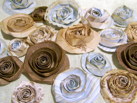 Handmade Vintage Looking Paper Flowers (20), Rolled Roses, French Cottage