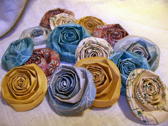 Large Handmade Vintage Looking Paper Flowers (15), Heritage Rolled Roses