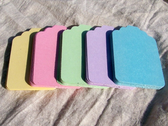 Set of 100 Die Cut Pastel Blank Tags for Wedding Wish, Escort Cards, Favors, DIY Wedding