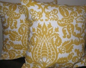 Set of two (2) 18 inch throw pillow covers - Amsterdam - Corn Yellow and Ivory/White. Envelope back closure.