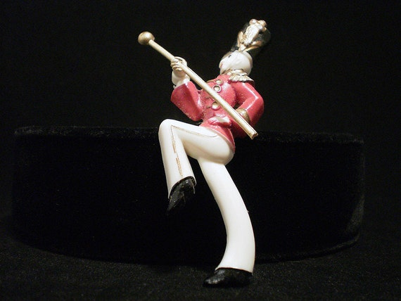 Ca. 1940s Vintage Drum Major Pin with Moving Baton
